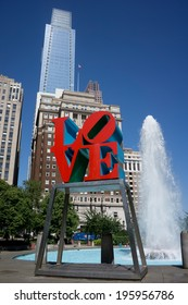 "PHILADELPHIA - MAY 25, 2014: Love Park in Philadelphia. Close up of the park's ""Love"" sculpture, built by Robert Indiana, was placed in the park in 1976 as part of the Bicentennial celebration."