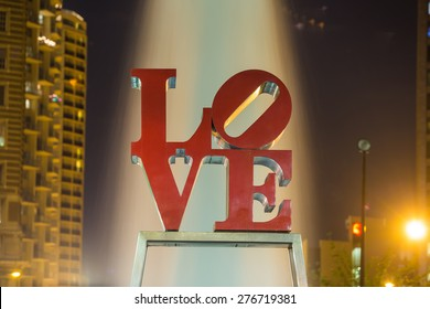 PHILADELPHIA - MAY 6: The popular Love Park named after the Love statue in Philadelphia, USA, on May 6, 2015. It was first placed in the plaza in 1976