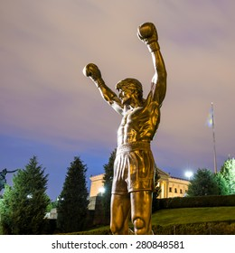 PHILADELPHIA - May 6: The Rocky Statue in Philadelphia, USA, on May 6, 2015. Originally created for the movie Rocky III, the sculpture is now a real-life monument to a celluloid hero
