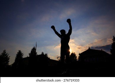PHILADELPHIA - May 7: The Rocky Statue in Philadelphia, USA, on May 7, 2015. Originally created for the movie Rocky III, the sculpture is now a real-life monument to a celluloid hero