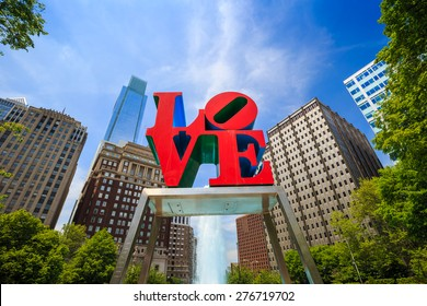 PHILADELPHIA - MAY 8: The popular Love Park named after the Love statue in Philadelphia, USA, on May 8, 2015. It was first placed in the plaza in 1976