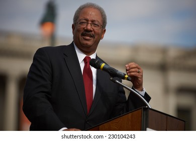 PHILADELPHIA - NOVEMBER 11: United States Congressman Chaka Fattah speaks to a crowd of people celebrating veterans day on November 11, 2014 in Philadelphia.