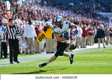 PHILADELPHIA - NOVEMBER 21: Memphis Tigers tight end Alan Cross (40) loses the football as he nears the goal line during the AAC football game November 21, 2015 in Philadelphia.