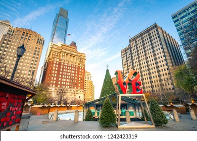 PHILADELPHIA - NOVEMBER 30, 2015: Love Park named after the Love statue in Philadelphia, USA in preparation for Christmas on November, 30, 2015. The park located in Center City, Philadelphia