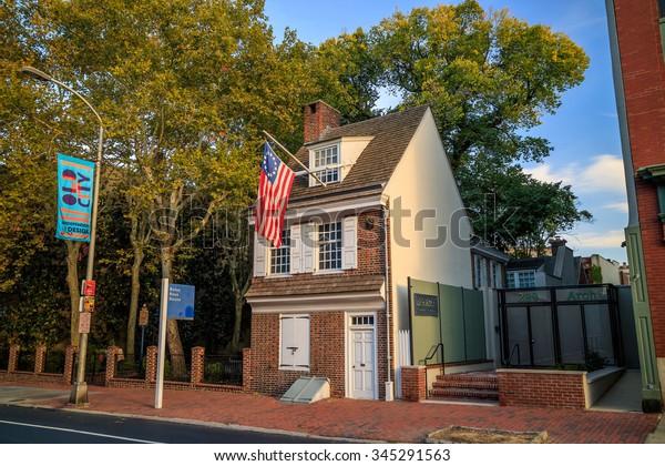 PHILADELPHIA - OCT 19: The historic Betsy Ross house tourism landmark with hanging American flag in Old City Philadelphia  on October 19, 2015.