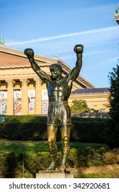 PHILADELPHIA - OCT 20: The Rocky Statue in Philadelphia, USA, on October 20, 2015. Originally created for the movie Rocky III, the sculpture is now a real-life monument to a celluloid hero