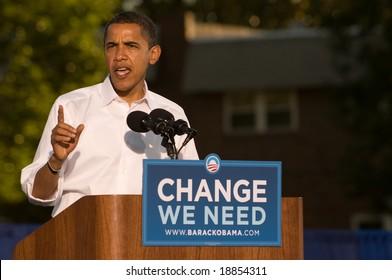PHILADELPHIA - OCTOBER 11: Democratic Presidential nominee Senator Barack Obama speaks at a rally in Progress Plaza on October 11, 2008 in Philadelphia, Pennsylvania