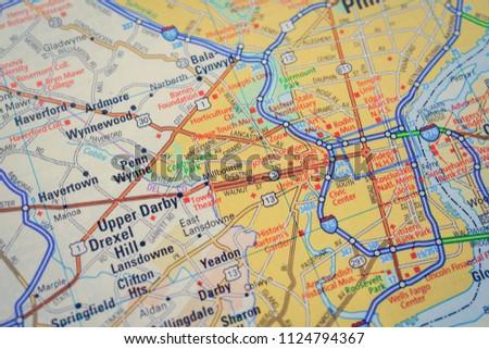 Philadelphia On Usa Map Stock Photo Edit Now 1124794367 Shutterstock