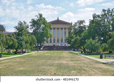 PHILADELPHIA, PA -1 SEP 2016- Opened in 1928, the Philadelphia Museum of Art, located on the Benjamin Franklin Parkway, contains an extensive collection of artwork.