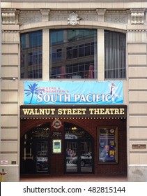 PHILADELPHIA, PA -1 SEP 2016- The Walnut Street Theater in Philadelphia is the oldest theater in the United States. A revival of the musical South Pacific opens in September 2016.