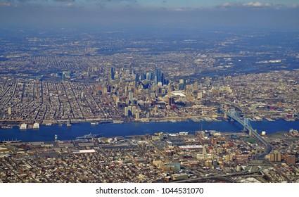 PHILADELPHIA, PA -10 MAR 2018- Aerial view of the skyline of the city of Philadelphia in Pennsylvania.