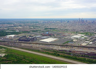 PHILADELPHIA, PA – 11 MAY 2019- Aerial view of the Lincoln Financial Field (home of the Philadelphia Eagles) and the Citizens Bank Park (home of the Phillies) stadiums.
