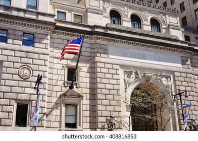 PHILADELPHIA, PA -15 APRIL 2016- The Beaux-Arts style Wells Fargo building on South Broad Street in Philadelphia was built in 1928. It was originally called the Fidelity Philadelphia Trust Company.