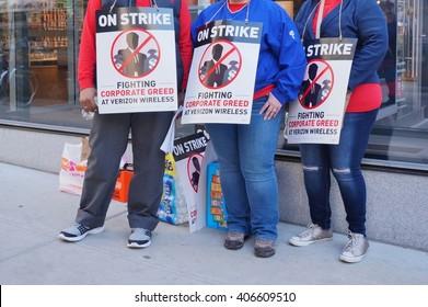 PHILADELPHIA, PA -16 APRIL 2016- Verizon workers on strike with placards in April 2016 in Philadelphia.