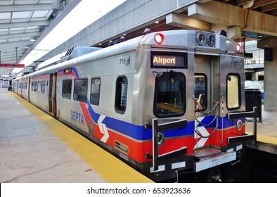 PHILADELPHIA, PA- 20 DEC 2016- The SEPTA regional train commuter service connects the Center City of Philadelphia to the Philadelphia International Airport (PHL).