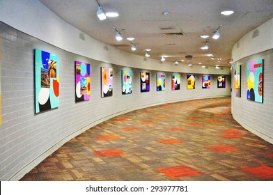 PHILADELPHIA, PA- 22 JUNE 2015- Rotating art exhibits are on display in the hallway in Terminal A at the Philadelphia International Airport (PHL).
