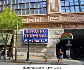 PHILADELPHIA, PA -4 OCT 2018- The Reading Terminal Market, located near the Philadelphia Convention Center, occupies the ground floor of the former train shed of the old Reading Railroad Terminal.