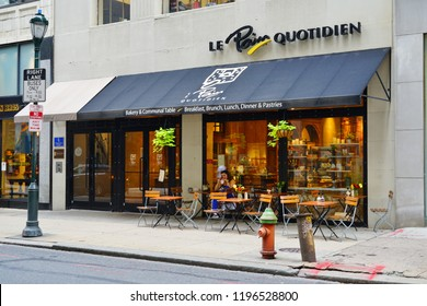 PHILADELPHIA, PA -4 OCT 2018- View of a Le Pain Quotidien restaurant on the street in downtown Philadelphia, Pennsylvania.