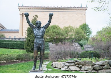 PHILADELPHIA, PA - APRIL 19: The Rocky Statue outside of the Philadelphia Museum of Art on April 19, 2013. Originally created for the movie Rocky III, the sculpture is now a real-life monument to a