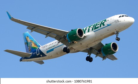Philadelphia, PA - April 28th, 2018: A Frontier Airlines Airbus A320 Neo nicknamed Shelly the Sea Turtle Landing at Philadelphia International Airport
