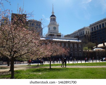 Philadelphia, PA - April 9 2017: Independence Hall, site of the signing of the Declaration of Independence and the Constitutional Conventions, in springtime