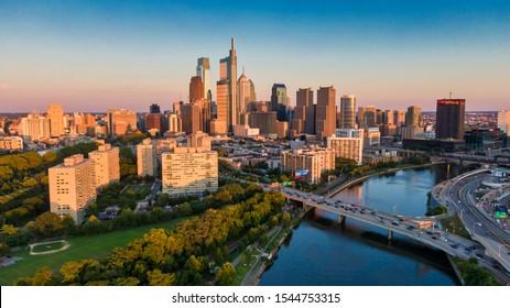 Philadelphia, PA - Aug 11 2019: Aerial skyline of Philadelphia, USA downtown area
