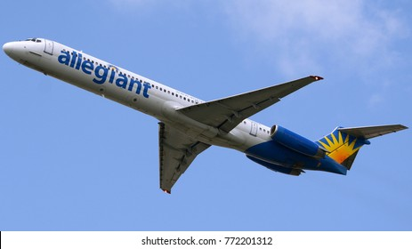 Philadelphia, PA - August 25th, 2017: An Allegiant Air MD83 Taking Off from Philadelphia International Airport