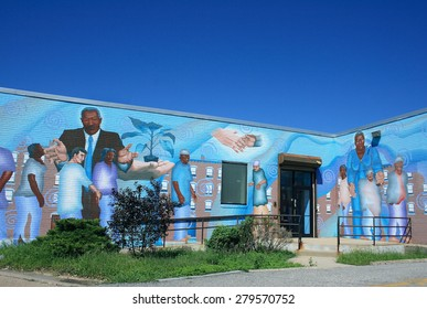 PHILADELPHIA, PA - AUGUST 30: Mural painted on the wall of a building in Philadelphia, PA on August 30, 2011.