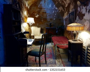 Philadelphia, PA - December 15 2018: Al Capone's jail cell at Eastern State Penintentiary