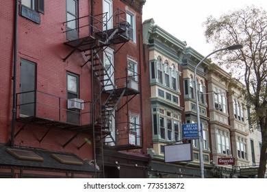 PHILADELPHIA, PA - DECEMBER 2nd, 2017: downtown of Philadelphia street view, South street touristic destination, facades houses
