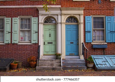 PHILADELPHIA, PA - DECEMBER 2nd, 2017: downtown of Philadelphia street view of house door with fall decor