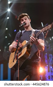 PHILADELPHIA, PA - December 9, 2015: Shawn Mendes performs at the Jingle Ball concert at the Wells Fargo Center on December 9, 2015 in Philadelphia.