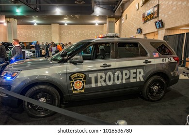 PHILADELPHIA, PA - Feb 3: Pennsylvania State Police vehicle at the 2018 Philadelphia Auto Show