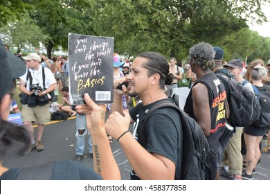 PHILADELPHIA, PA: - JULY 25 2016: thousands of left wing activists descended on downtown Philadelphia & FDR Park to protest day one of the DNC. RevCom members on hand to protest