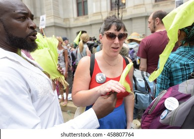 PHILADELPHIA, PA: - JULY 25 2016: thousands of left wing activists descended on downtown Philadelphia & FDR Park to protest day one of the DNC