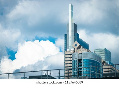 Philadelphia, PA - July 26, 2018: Sharp view of the Comcast Technology Center building and other skyscrapers in Philly.