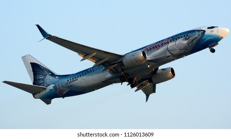 "Philadelphia, PA - July 3rd, 2018: An Alaska Airlines Boeing 737-890, Nicknamed the ""Salmon-Thirty-Salmon"", Departing Philadelphia International Airport"