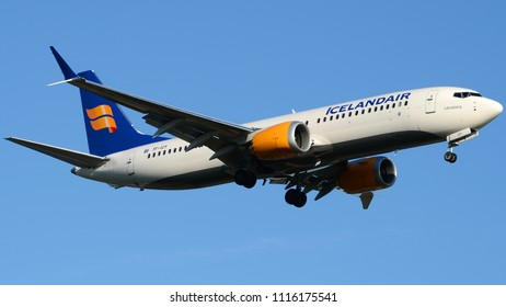 Philadelphia, PA - June 16th, 2018: An IcelandAir Boeing 737 MAX 8 registered TF-ICY