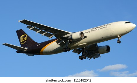 Philadelphia, PA - June 16th, 2018: A UPS Airbus A300F4-622R, Registered N145UP, Landing