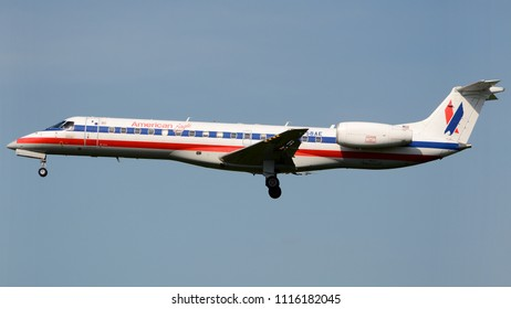 Philadelphia, PA - June 16th, 2018: An American Eagle Embraer E140LR in a 90's Livery