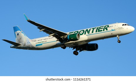"Philadelphia, PA - June 16th, 2018: A Frontier Airlines Airbus A321-211, ""Powder the Polar Bear"""