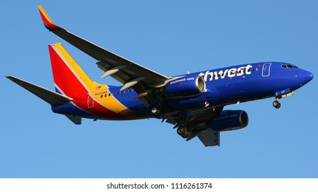 Philadelphia, PA - June 16th, 2018: A Southwest Airlines Boeing 737-7H4