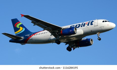 Philadelphia, PA - June 16th, 2018: A Spirit Airlines Airbus A319-132