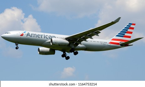 Philadelphia, PA - June 17th, 2018: An American Airlines Airbus A330-243 Landing