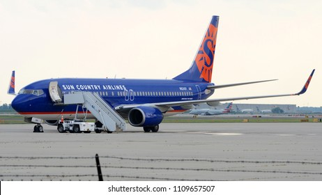 Philadelphia, PA - June 3rd, 2018: A Sun Country Boeing 737-85P Parked at Philadelphia International Airport