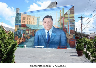 PHILADELPHIA, PA - JUNE 4: The mural of former mayor Rizzo is a continued source of pride in the Italian American community in South Philadelphia on June 4, 2011 in Philadelphia, PA.