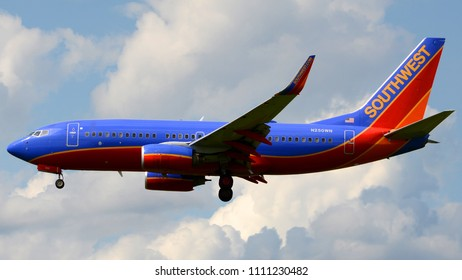 Philadelphia, PA - June 9th, 2016: A Southwest Airlines Boeing 737-7H4 Landing at Philadelphia International Airport