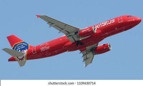 Philadelphia, PA - June 9th, 2018: A Jetblue Airbus A320-232 in a New York Fire Department Livery Departing from Philadelphia International Airport