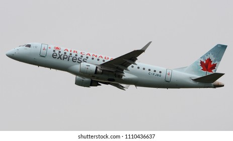 Philadelphia, PA - June 9th, 2018: An Air Canada Express Embraer ERJ-175LR Departing Philadelphia International Airport