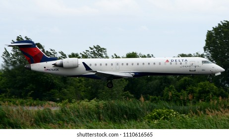 Philadelphia, PA - June 9th, 2018: A Delta Connection CRJ-700 Landing at Philadelphia International Airport